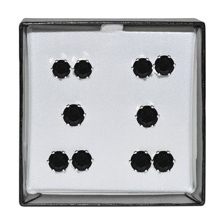 Surgical Steel and Silvertone Black Cubic Zirconia Stud 5-pair Earring Set