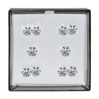 Surgical Steel and Silvertone Clear Cubic Zirconia Stud 5-pair Earring Set