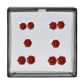 Surgical Steel and Silvertone Orange Cubic Zirconia Stud 5-pair Earring Set