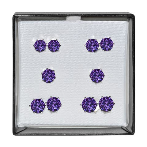 Surgical Steel and Silvertone Purple Cubic Zirconia Stud 5-pair Earring Set