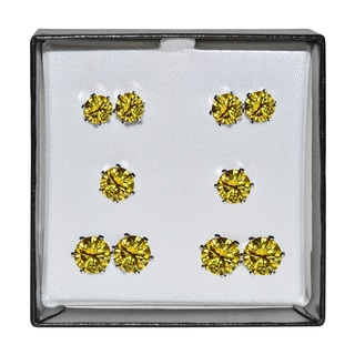 Surgical Steel and Silvertone Yellow Cubic Zirconia Stud 5-pair Earring Set
