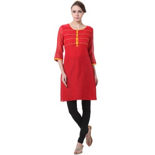In-Sattva Women's Indian Yellow Accent Red Kurta Tunic