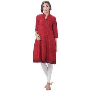 In-Sattva Women's Indian Three Leaf Print Lace Hem Kurta Tunic