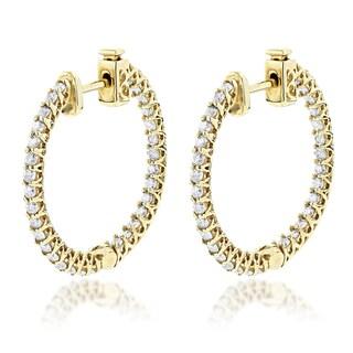 Luxurman 14k Gold 1 7/8ct TDW Diamond Inside Out Hoop Earrings (G-H, SI1-SI2)