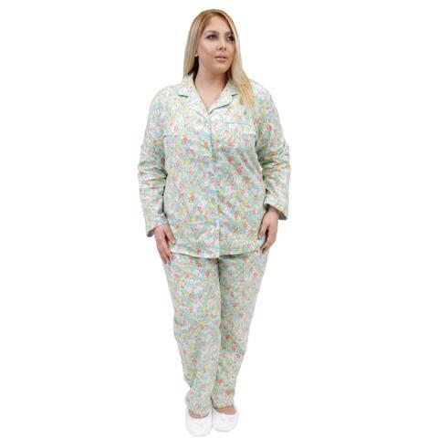 La Cera Long Sleeve Flannel Pajamas Set