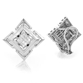 Luxurman 14k White Gold Men's 1 1/5ct TDW Diamond Earrings
