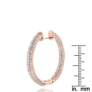 Luxurman 14k Gold 6ct TDW Diamond Large Inside Out Hoop Earrings