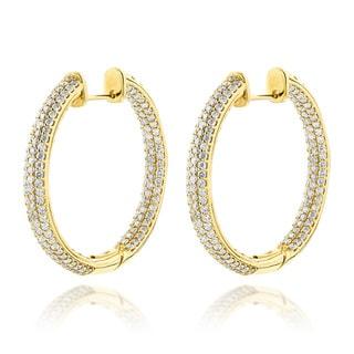 Luxurman 14k Gold 6ct TDW Diamond Large Inside Out Hoop Earrings (G-H, VS-SI)