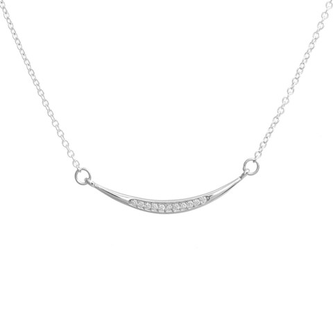 Pori Sterling Silver Cubic Zirconia Smile Curved Pendant Necklace