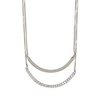 Pori Sterling Silver Cubic Zirconia Double Layered Curved Pendant Necklace