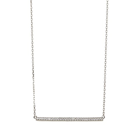 Pori Sterling Silver Cubic Zirconia Horizontal Bar Pendant Necklace