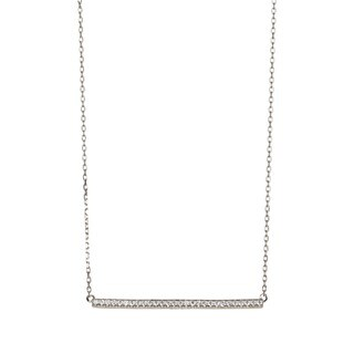 Pori Sterling Silver Cubic Zirconia Horizontal Bar Pendant Necklace