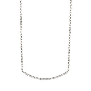 Pori Sterling Silver Cubic Zirconia Curved Pendant Necklace