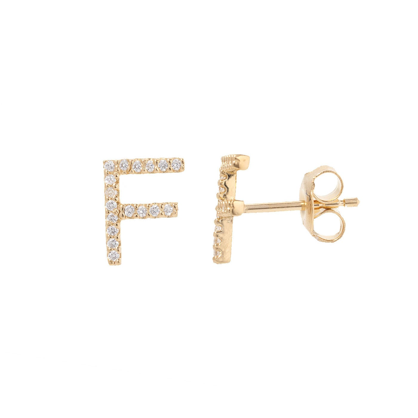 0f8878fe3 Pori 18k Yellow Gold-plated Sterling Silver Cubic Zirconia Initial ...