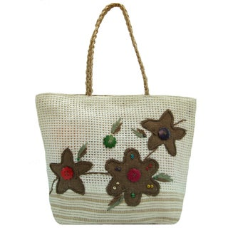 Handmade Natural Linen Embroidered Floral Tote Bag
