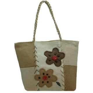 Linen Embroidered Floral Natural Tote Bag