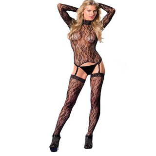 Floral Turtleneck 3-piece Garter Bodystocking