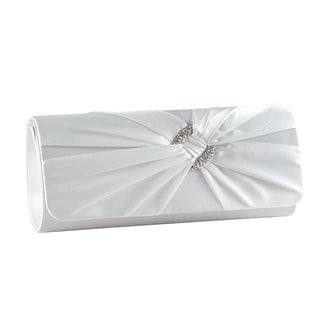 Satin Pleated Diamante Knot Evening Bridal Clutch
