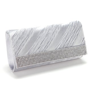 Satin Silver Diamante Flap-over Evening Clutch