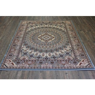 5.3 Feet by 7.4 Feet Blue Isfahan persian Area Rug