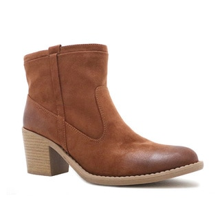 QUPID TOBIN-06 Women's Western Strappy Chunky Ankle Booties