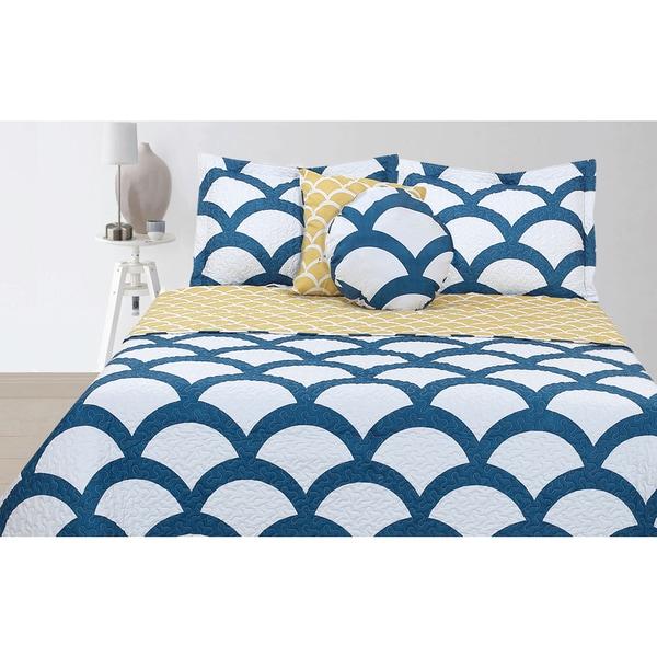 Lauren Taylor Merida Blue 5-piece Quilt Set