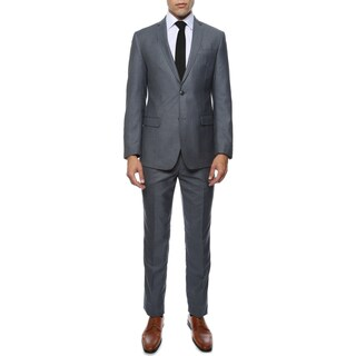 Zonettie Men's Etro Grey-Blue Slim Fit 2-Piece Notch Lapel Suit