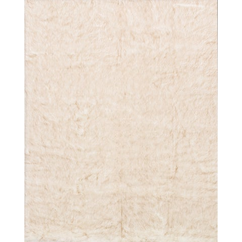 Silver Orchid Martin Faux Fur Ivory/ Beige Shag Area Rug - 2' x 3'