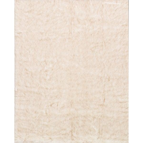 Faux Fur Ivory/ Beige Shag Rug