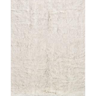 Faux Fur Ivory/ Grey Shag Rug (2'0 x 3'0)