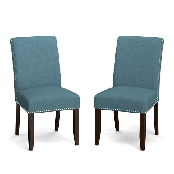 Handy living madelyn blue linen upholstered armless dining for Upholstered linen dining chairs