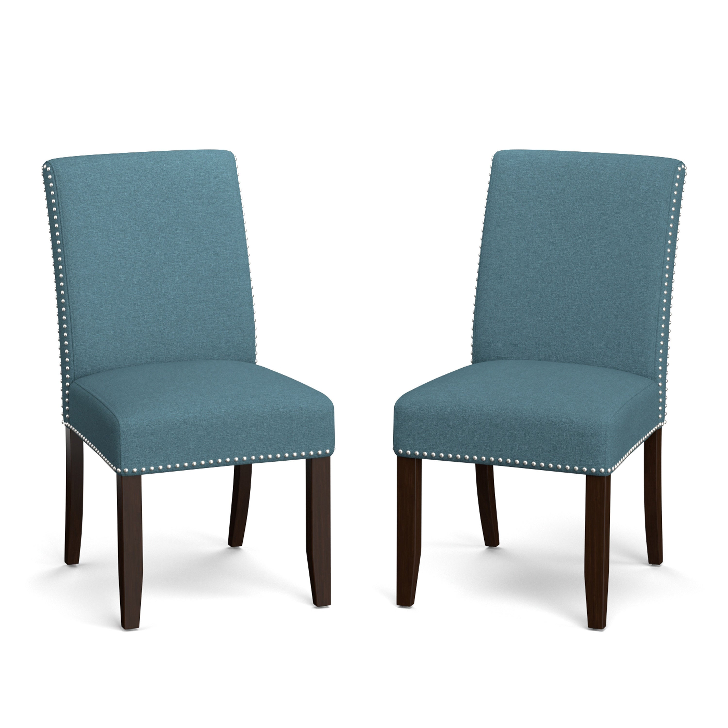 Handy Living Madelyn Blue Linen Upholstered Armless Dining Chairs ...