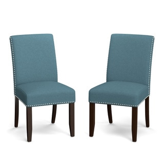 Portfolio Madelyn Blue Linen Upholstered Armless Dining Chairs (Set of 2)