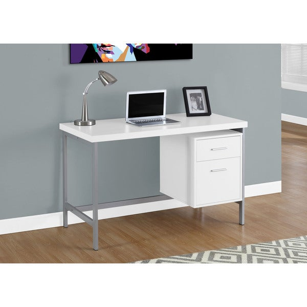 White And Silver Metal 48 Inch Computer Desk Free