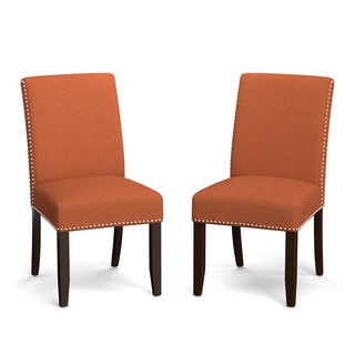 Portfolio Madelyn Orange Linen Upholstered Armless Dining Chairs (Set of 2)