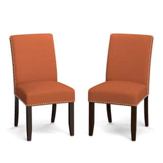 Handy Living Madelyn Orange Linen Upholstered Armless Dining Chairs Set Of 2