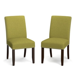 Handy Living Madelyn Green Linen Upholstered Armless Dining Chairs (Set of 2)