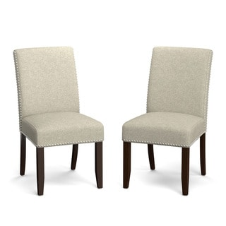 Handy Living Madelyn Barley Tan Linen Upholstered Armless Dining Chairs (Set of 2)