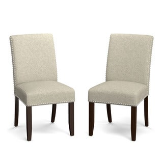 Portfolio Madelyn Barley Tan Linen Upholstered Armless Dining Chairs (Set of 2)
