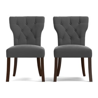 Portfolio Sirena Grey Velvet Upholstered Armless Dining Chairs (Set of 2)
