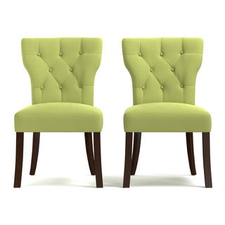 Portfolio Sirena Spring Green Velvet Upholstered Armless Dining Chairs (Set of 2)