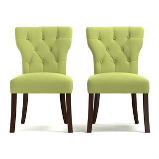 Portfolio Sirena Spring Green Velvet Upholstered Armless Dining Chairs (Set of 2)