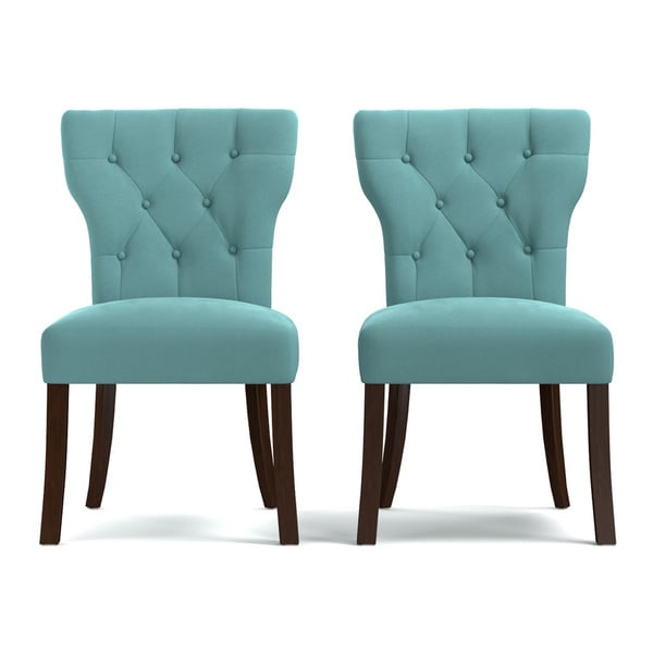 handy living sirena deep turquoise blue velvet upholstered armless dining chairs set of 2. Black Bedroom Furniture Sets. Home Design Ideas