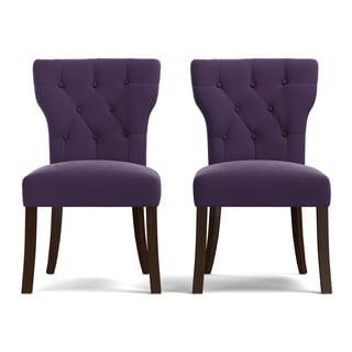 Handy Living Sirena Plum Purple Velvet Upholstered Armless Dining Chairs  (Set Of 2)
