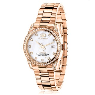 Luxurman Women's 18k Rose Goldplated 11/2ct TDW Diamond Tribeca Watch