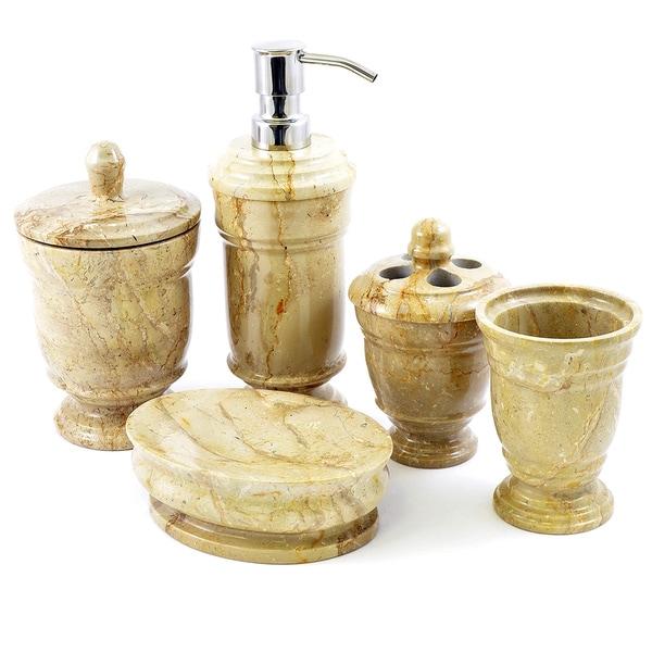 Nature Home Decor Sahara Beige Marble 5-Piece Bathroom Accessory Set of Tasmanian Collection