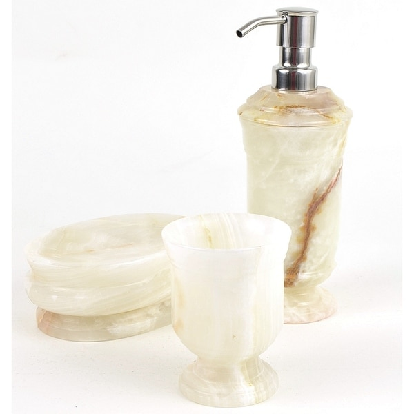 Nature Home Decor White Onyx 3-Piece Bathroom Accessory Set of Tasmanian Collection