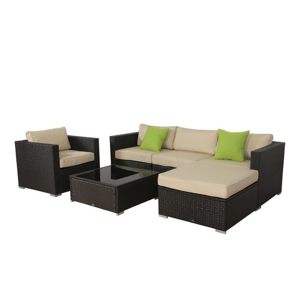 High Quality BroyerK 6 Piece Beige Outdoor Rattan Patio Furniture Set