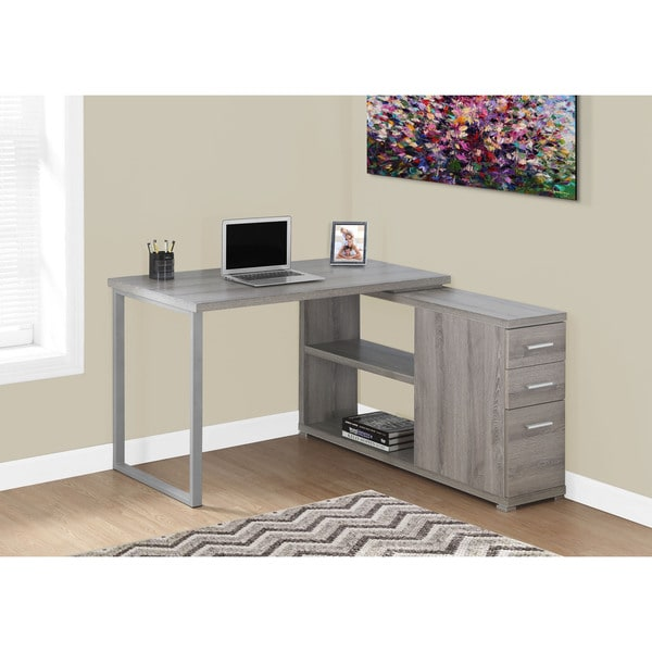 Dark Taupe Corner Computer Desk with Storage