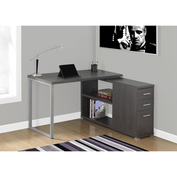 Shop Grey Left Or Right Facing Computer Desk   Free Shipping Today    Overstock   10949528